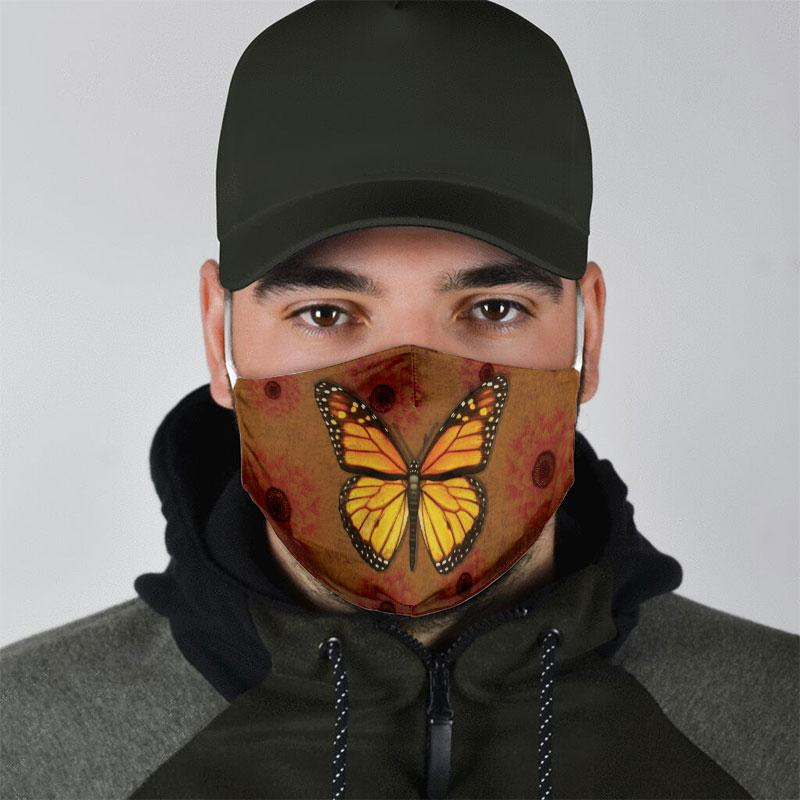vintage butterfly all over print face mask 5