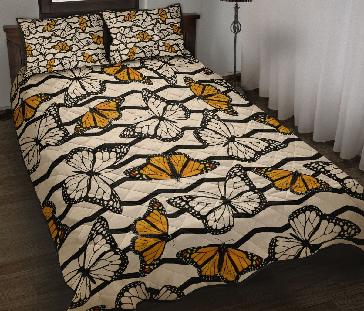 vintage butterfly in autumn full over print quilt 2