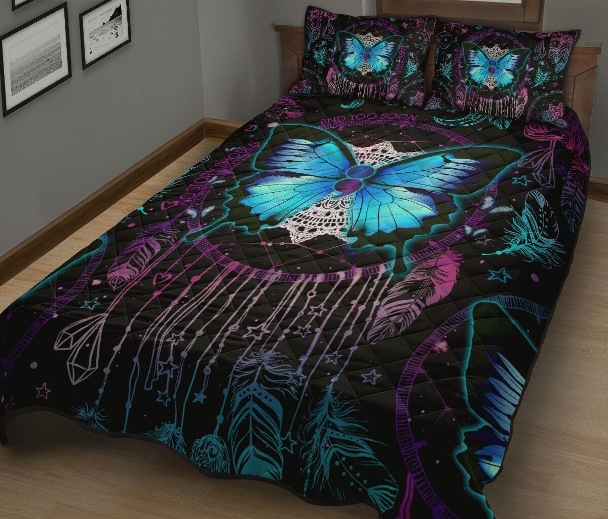 vintage butterfly night full over print quilt 3