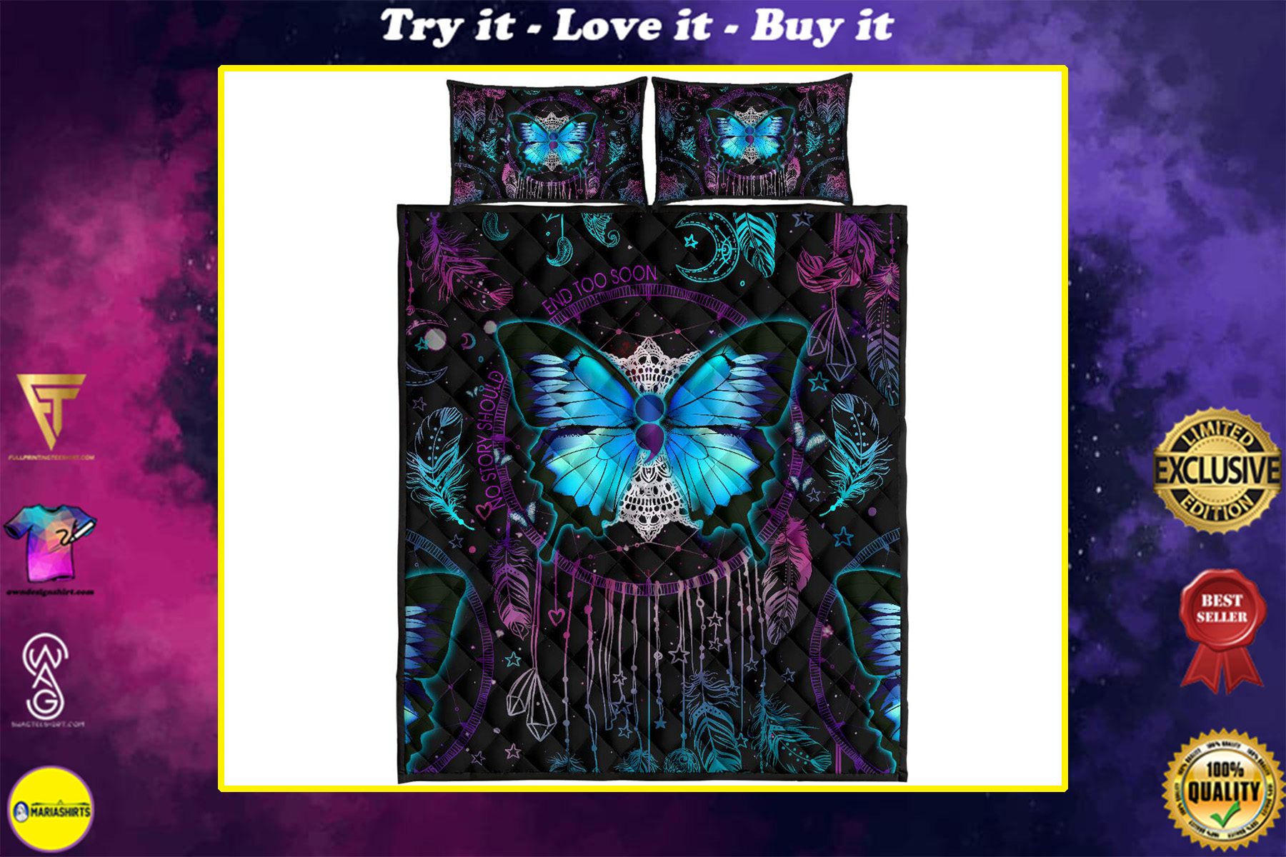 vintage butterfly night full over print quilt