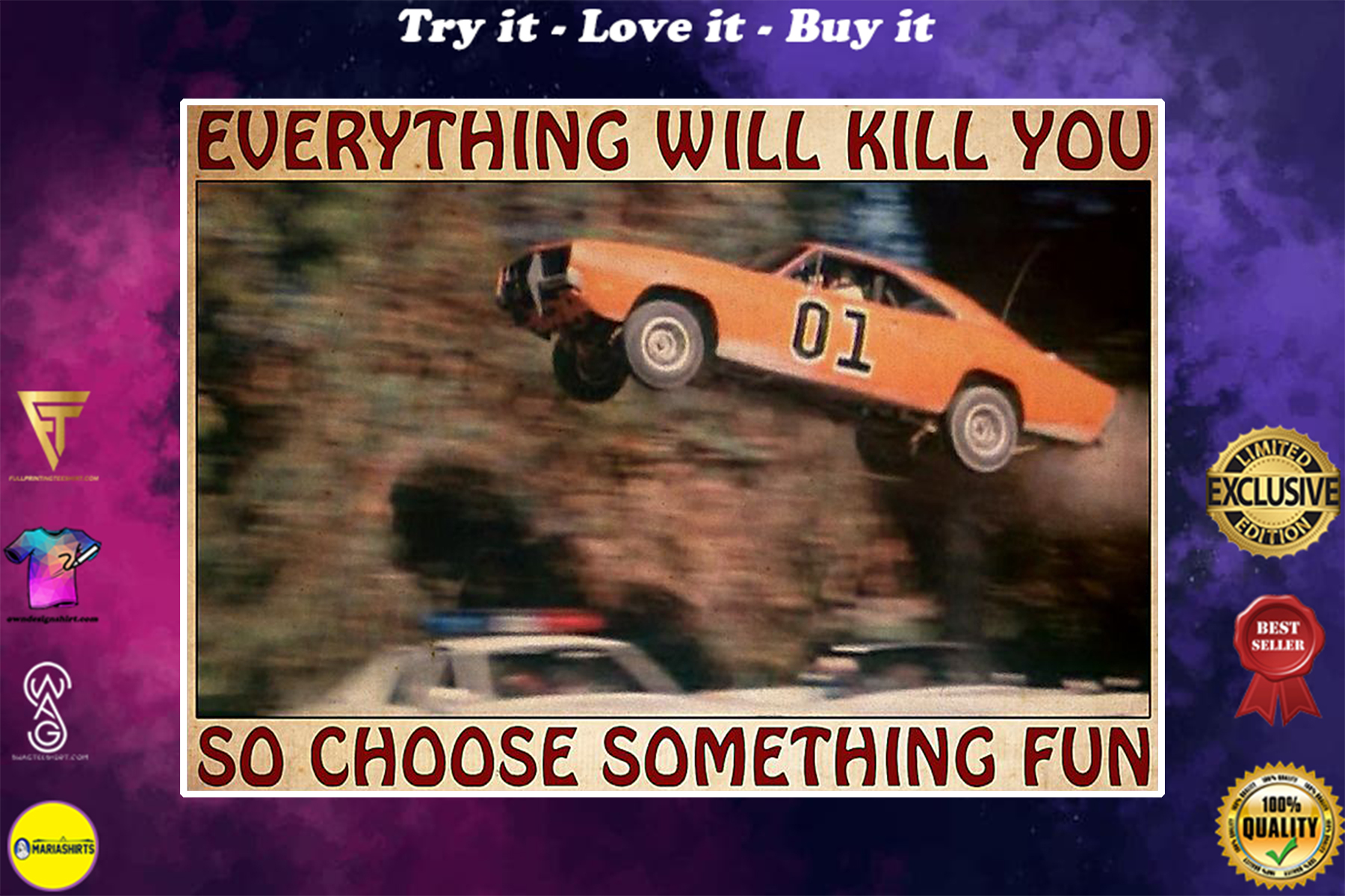 vintage car everything will kill you so choose something fun poster