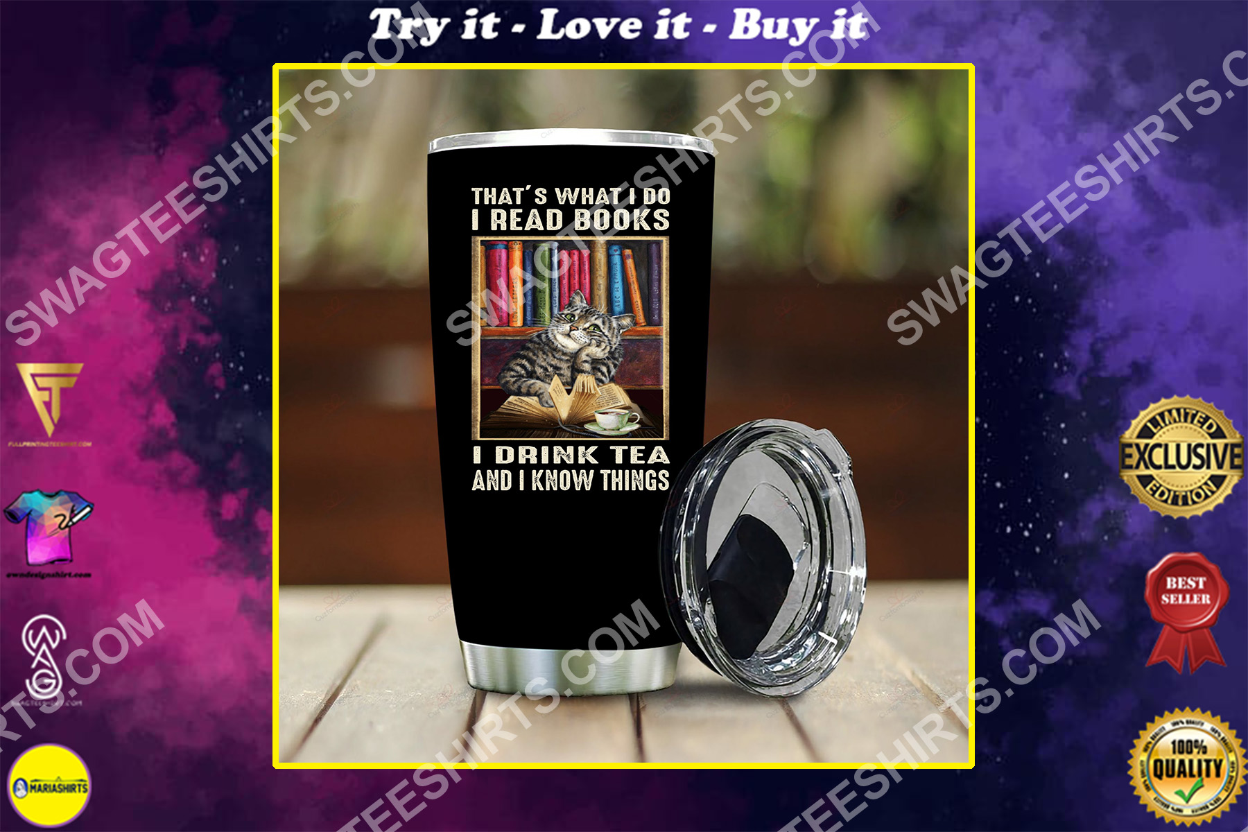 vintage cat drink tea and know things all over printed stainless steel tumbler