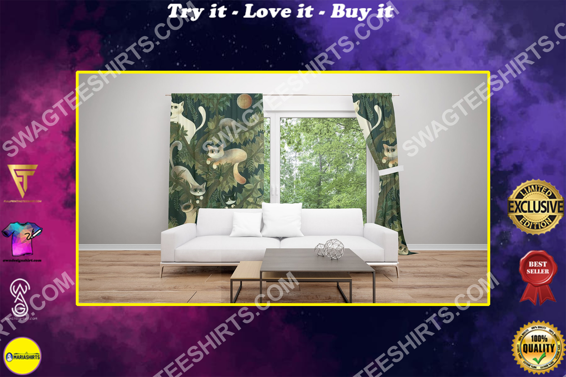 vintage cat lover all over printed window curtains