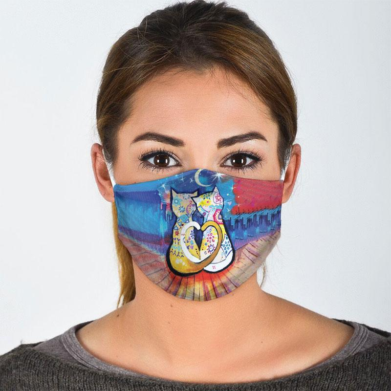 vintage cat watch the night city all over print face mask 3