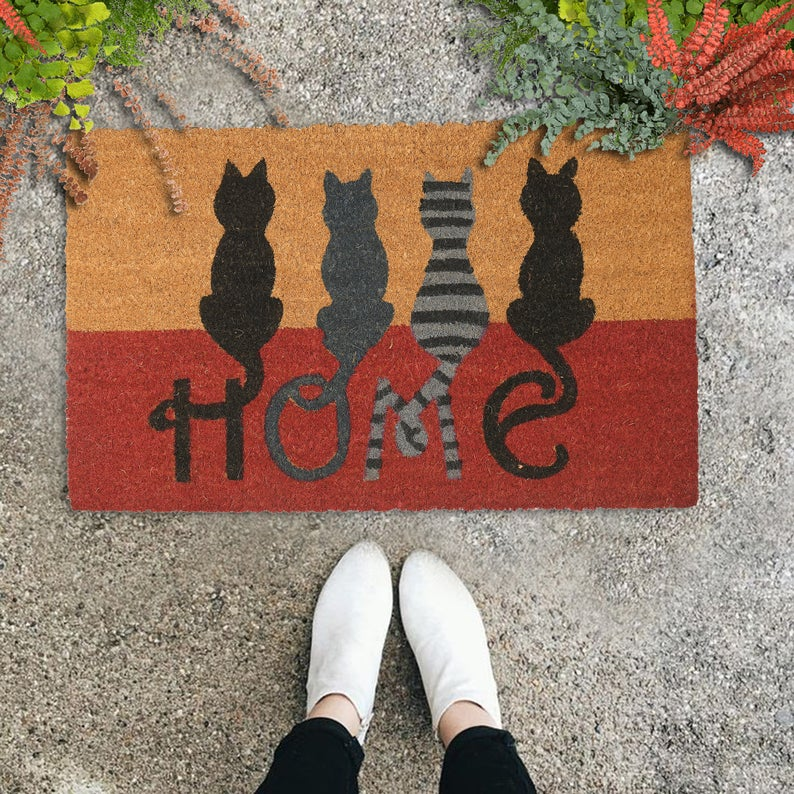 vintage cats at home all over print doormat 2