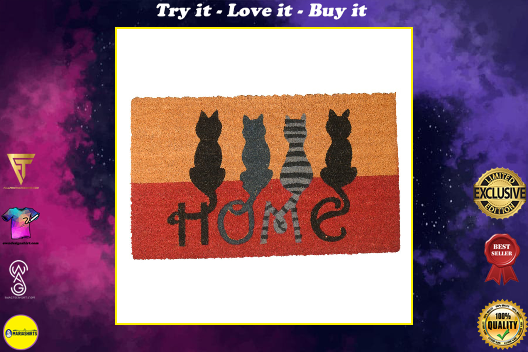vintage cats at home all over print doormat