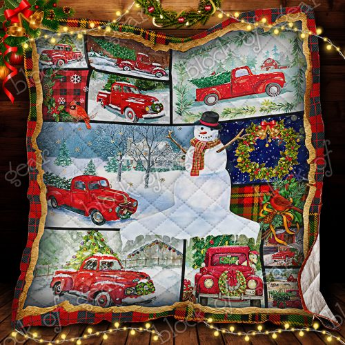 vintage christmas red truck and snowman all over print quilt 2