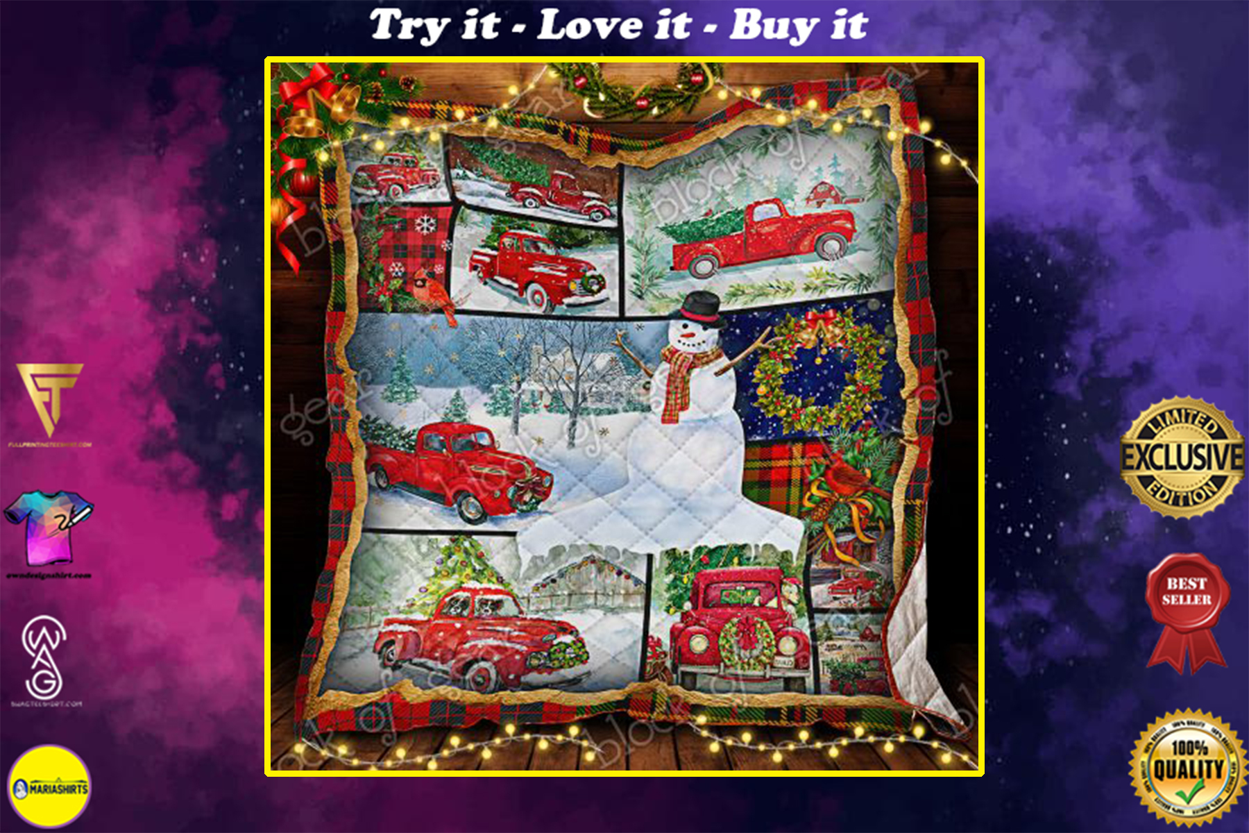 vintage christmas red truck and snowman all over print quilt