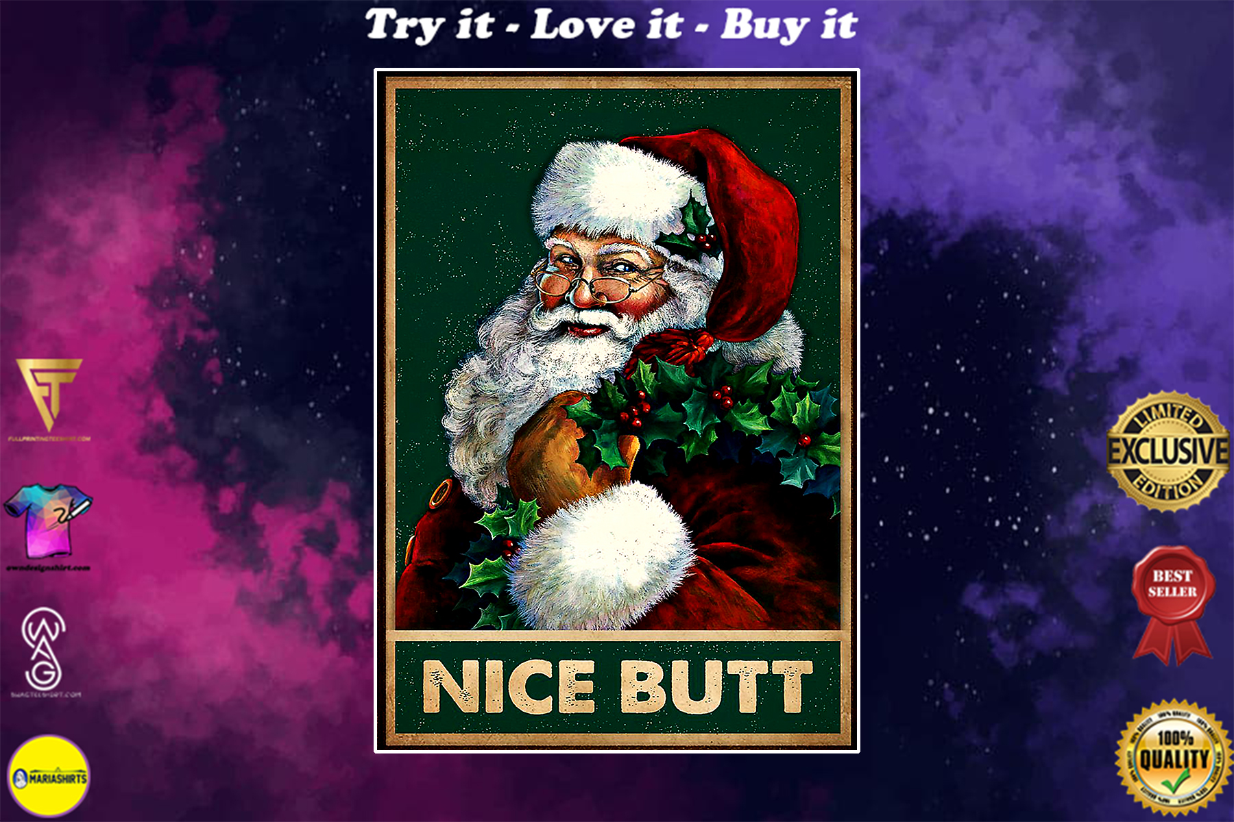 vintage christmas santa nice butt poster