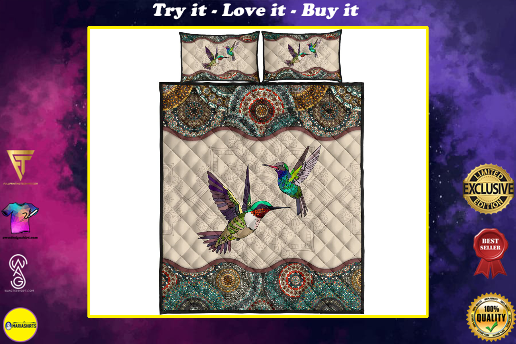 vintage couple hummingbirds full over print quilt