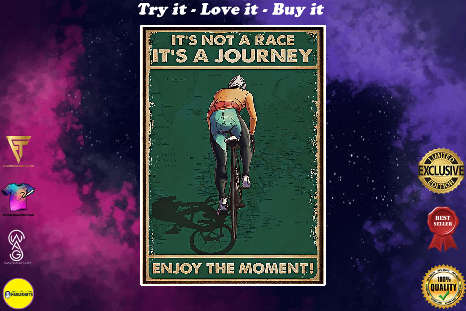 vintage cycling its not a raceits a journey enjoy the moment poster
