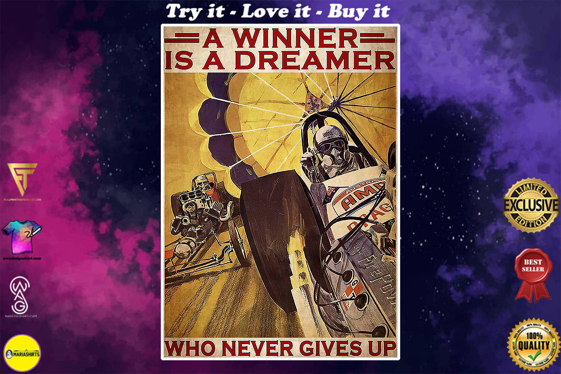 vintage drag racer a winner is a dreamer who never gives up poster