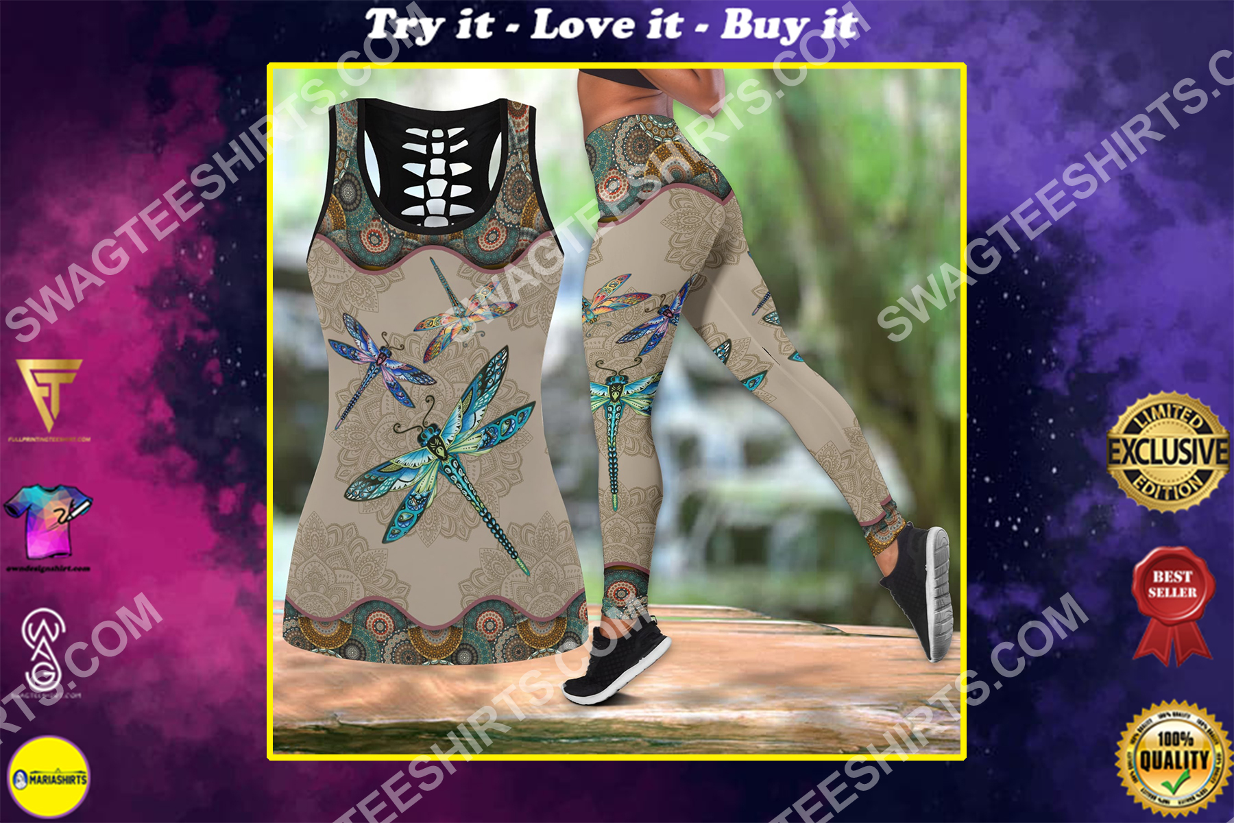 vintage dragonfly all over printed set sports outfit