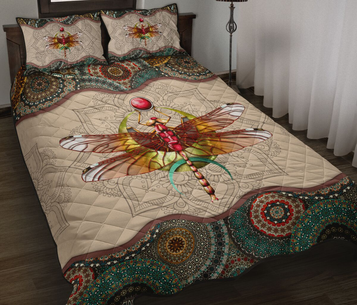 vintage dragonfly colorful full over print quilt 2