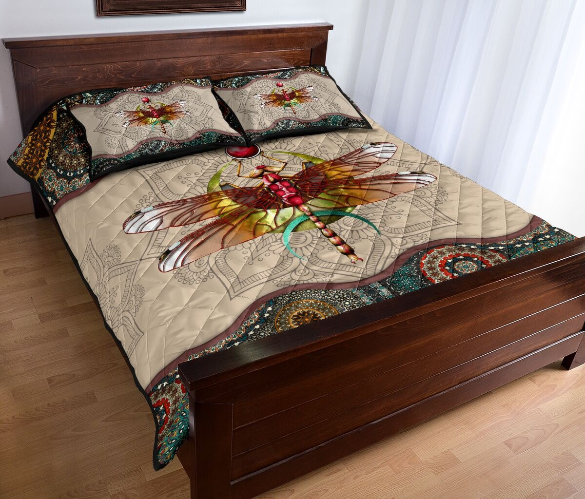 vintage dragonfly colorful full over print quilt 3
