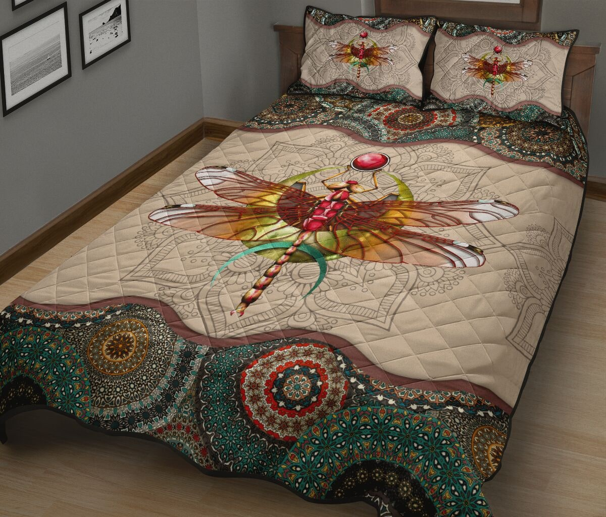vintage dragonfly colorful full over print quilt 4