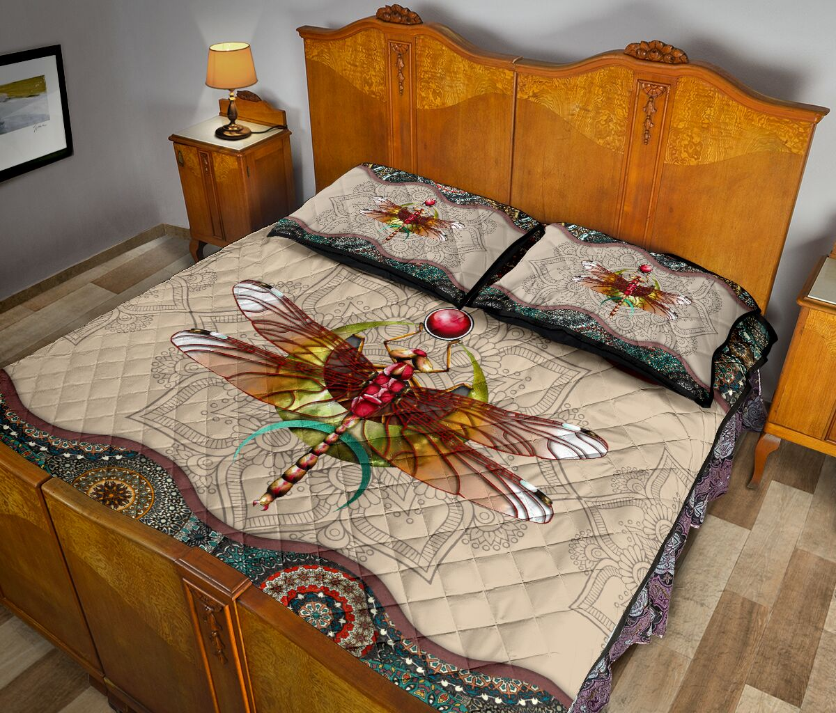 vintage dragonfly colorful full over print quilt 5