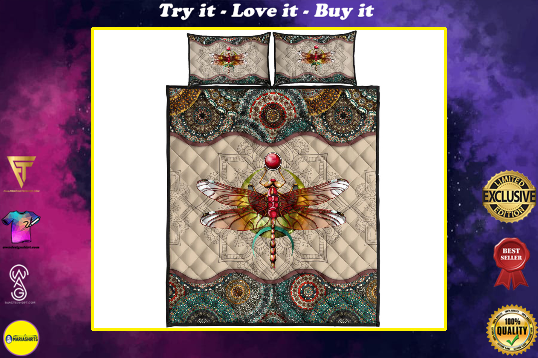 vintage dragonfly colorful full over print quilt