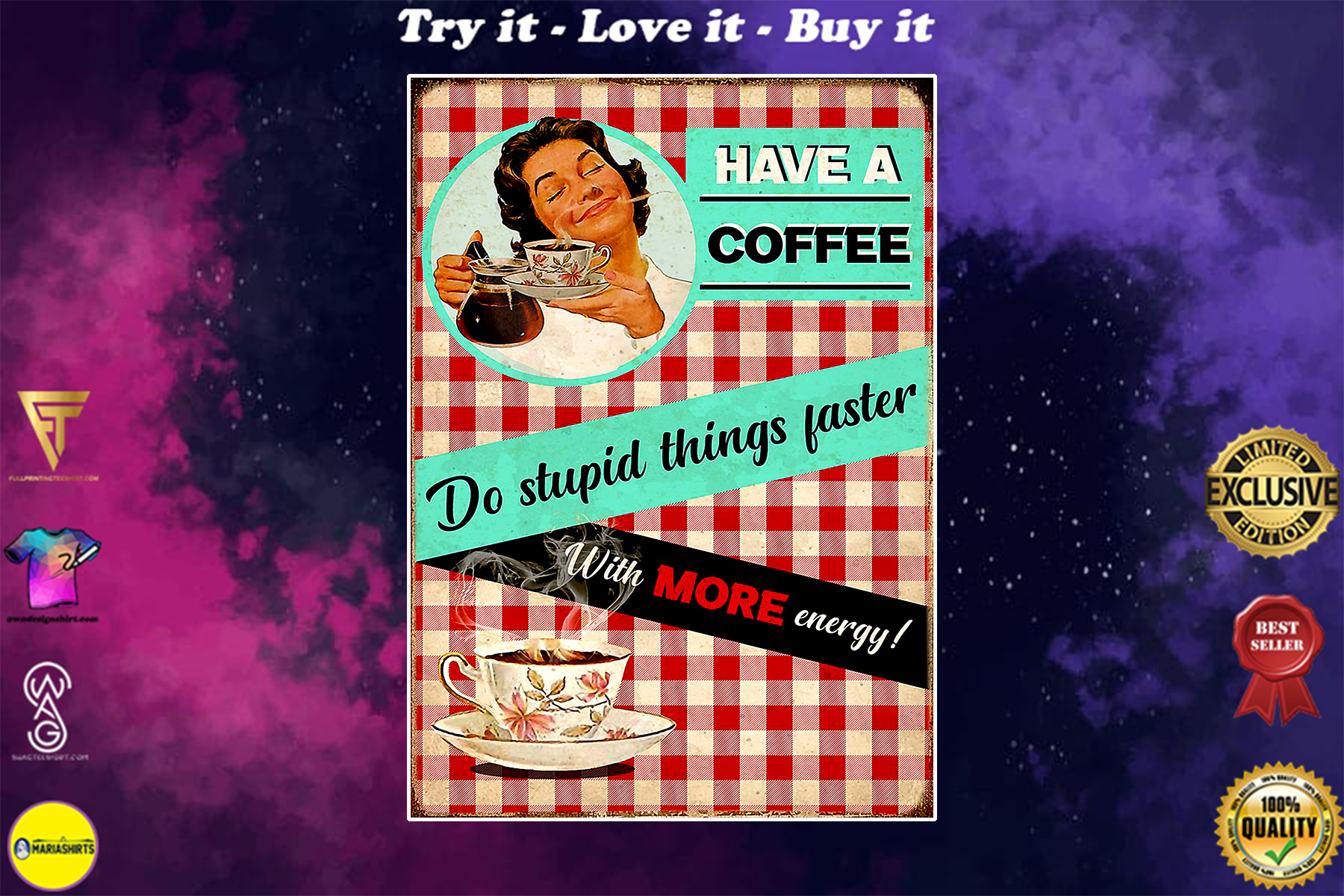 vintage drink coffee do stupid things faster with more energy poster