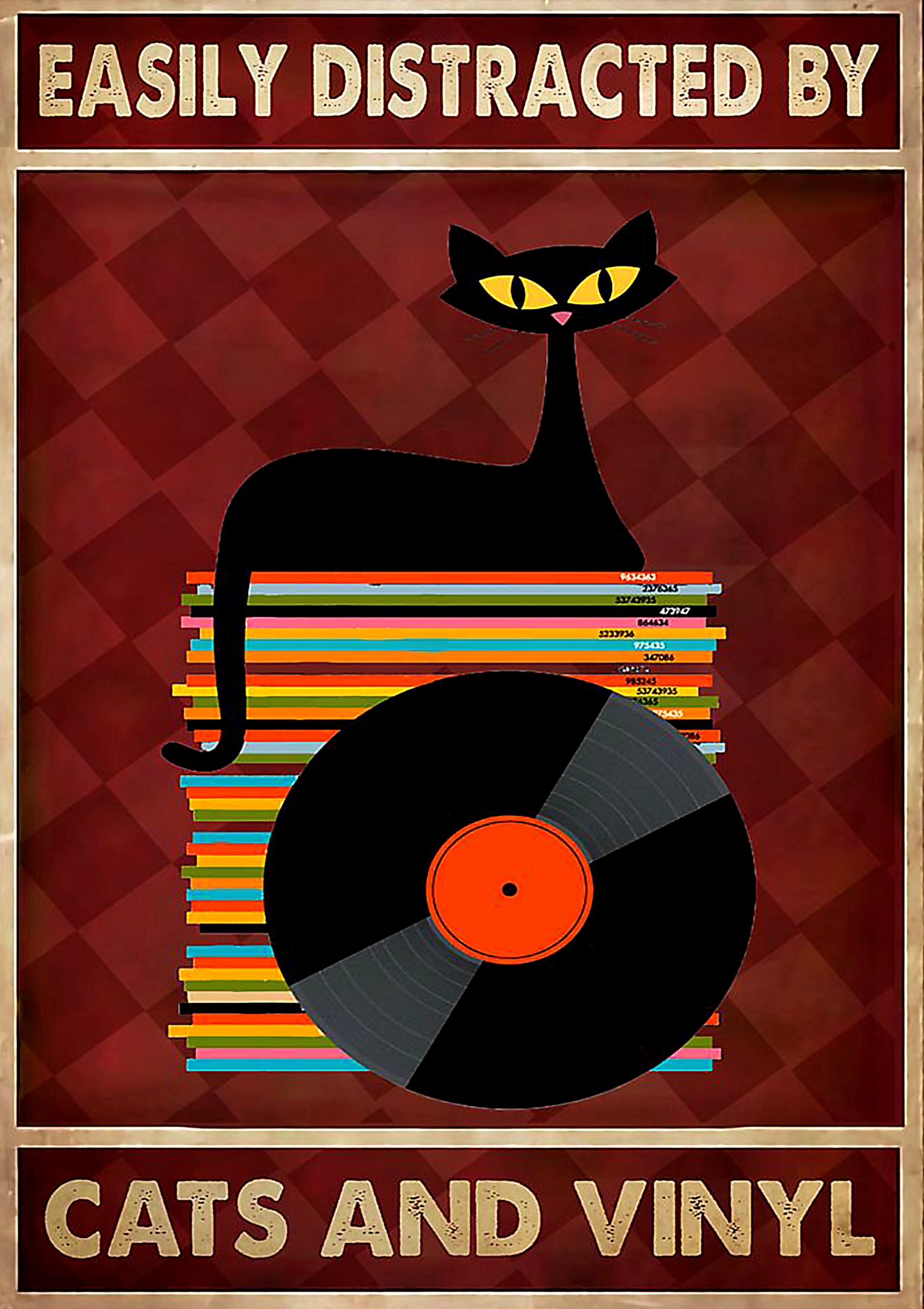 vintage easily distracted by cats and vinyl poster 1