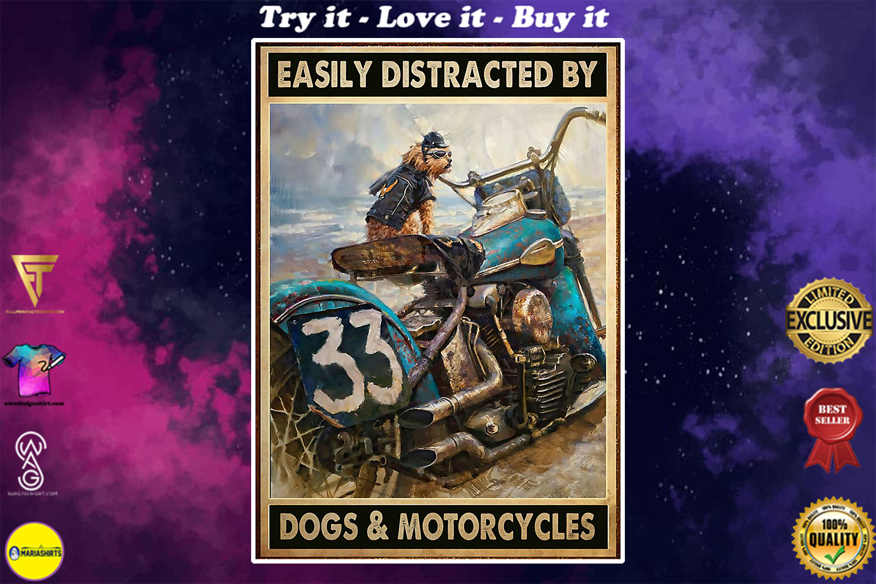 vintage easily distracted by dogs and motorcycles poster