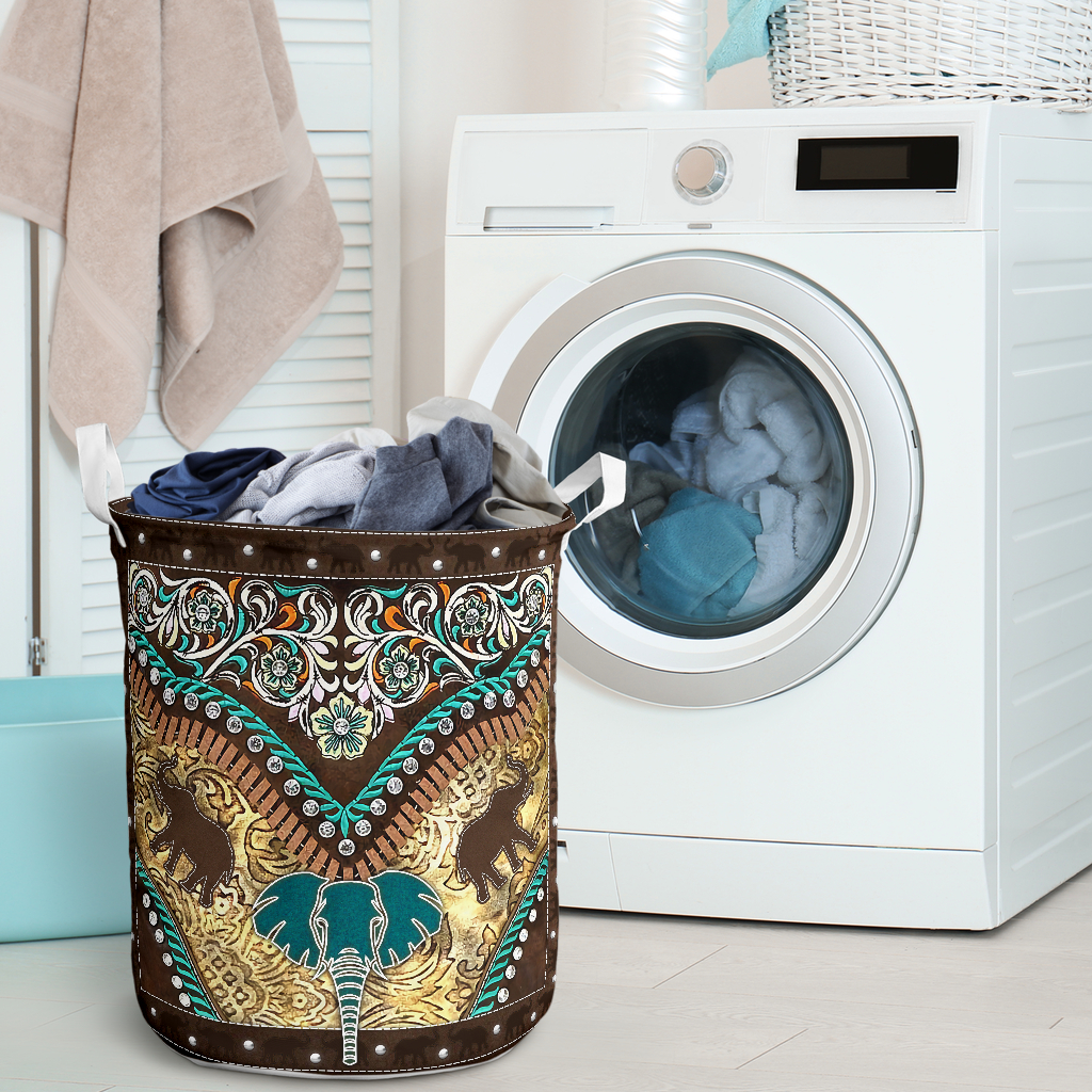 vintage elephant all over printed laundry basket 2