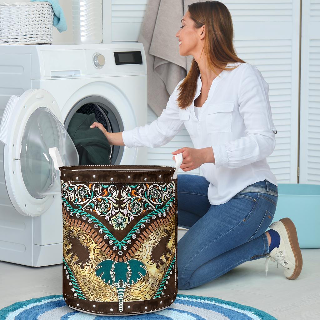 vintage elephant all over printed laundry basket 3