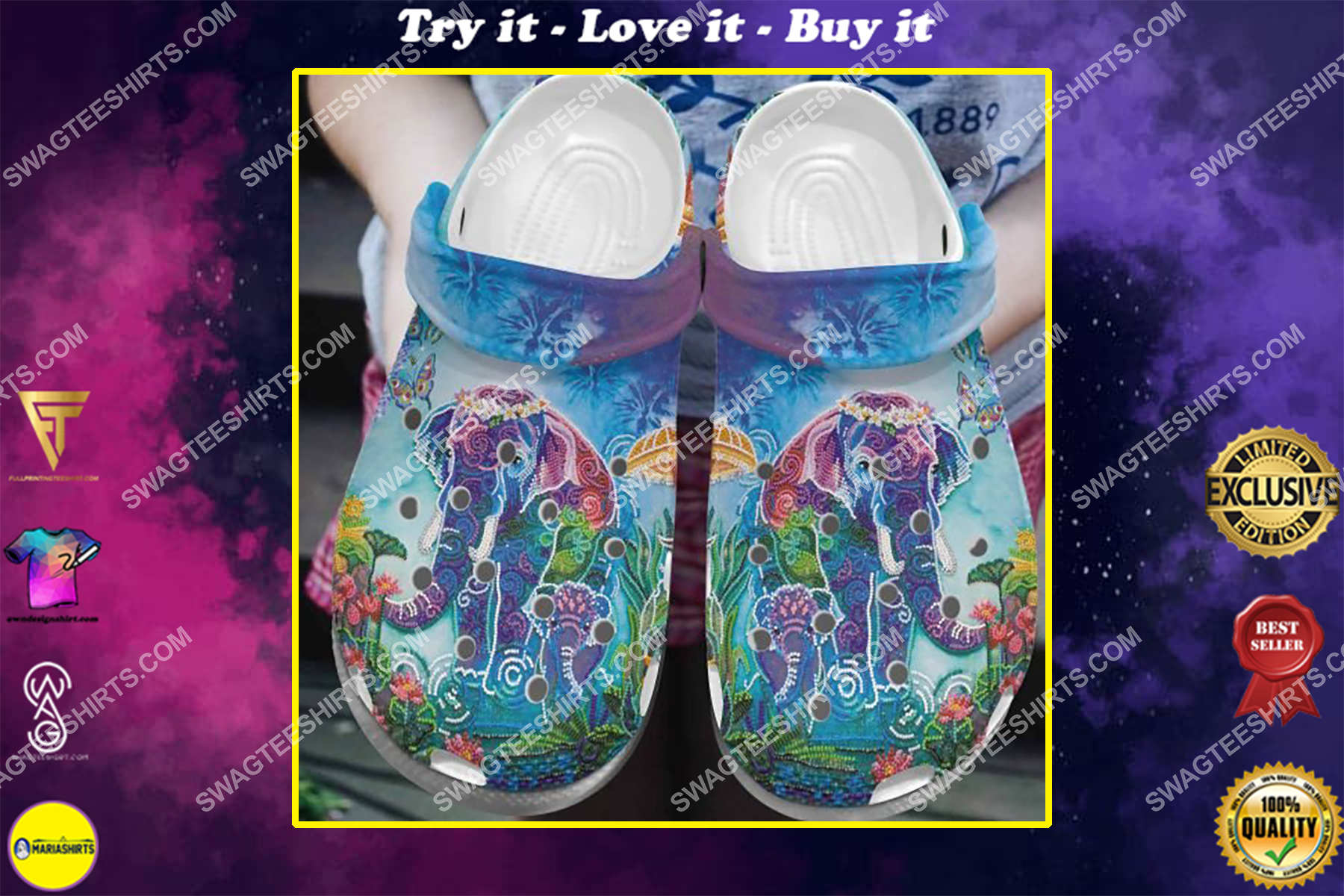 vintage elephant colorful all over printed crocs