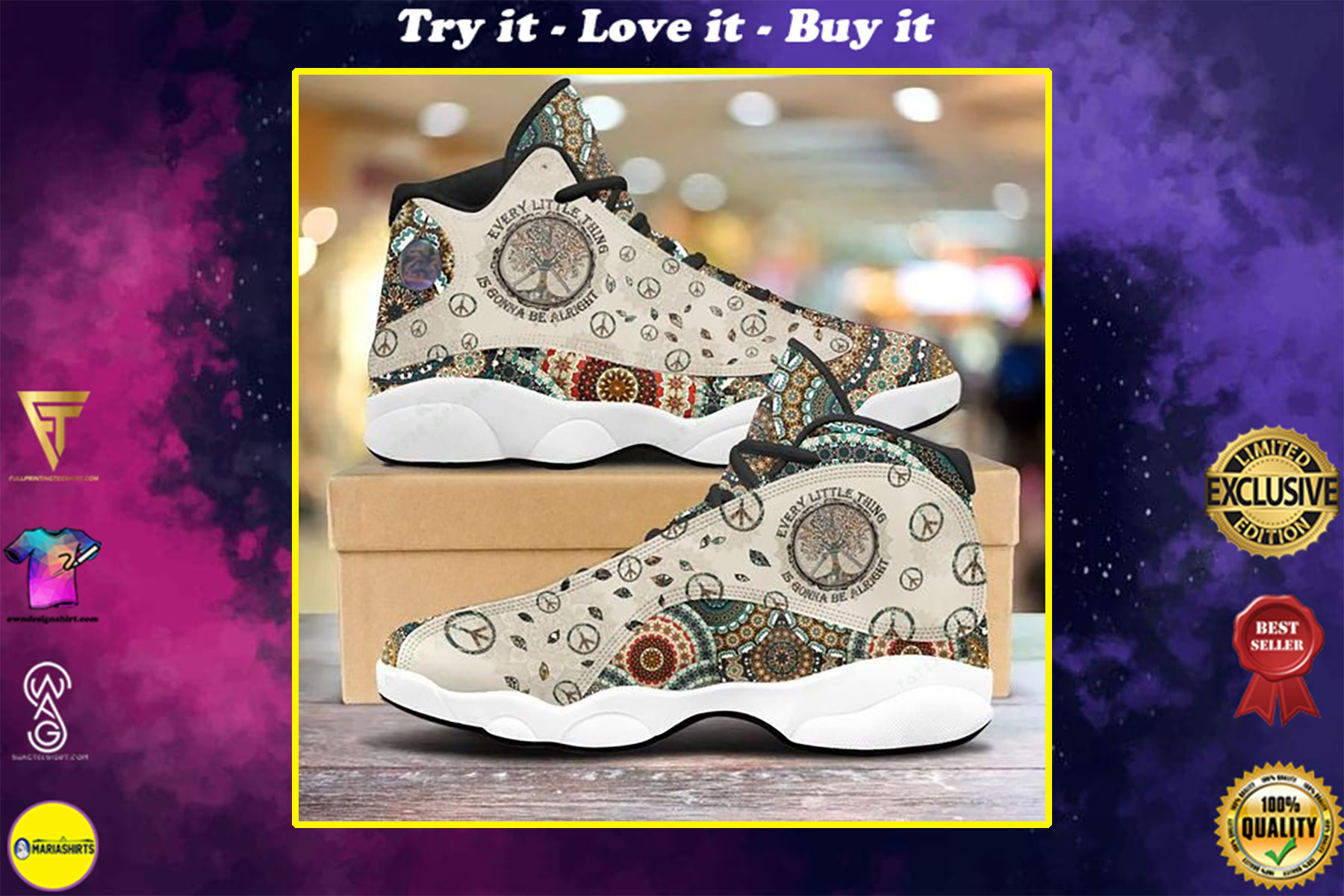 vintage every little thing is gonna be alright all over printed air jordan 13 sneakers