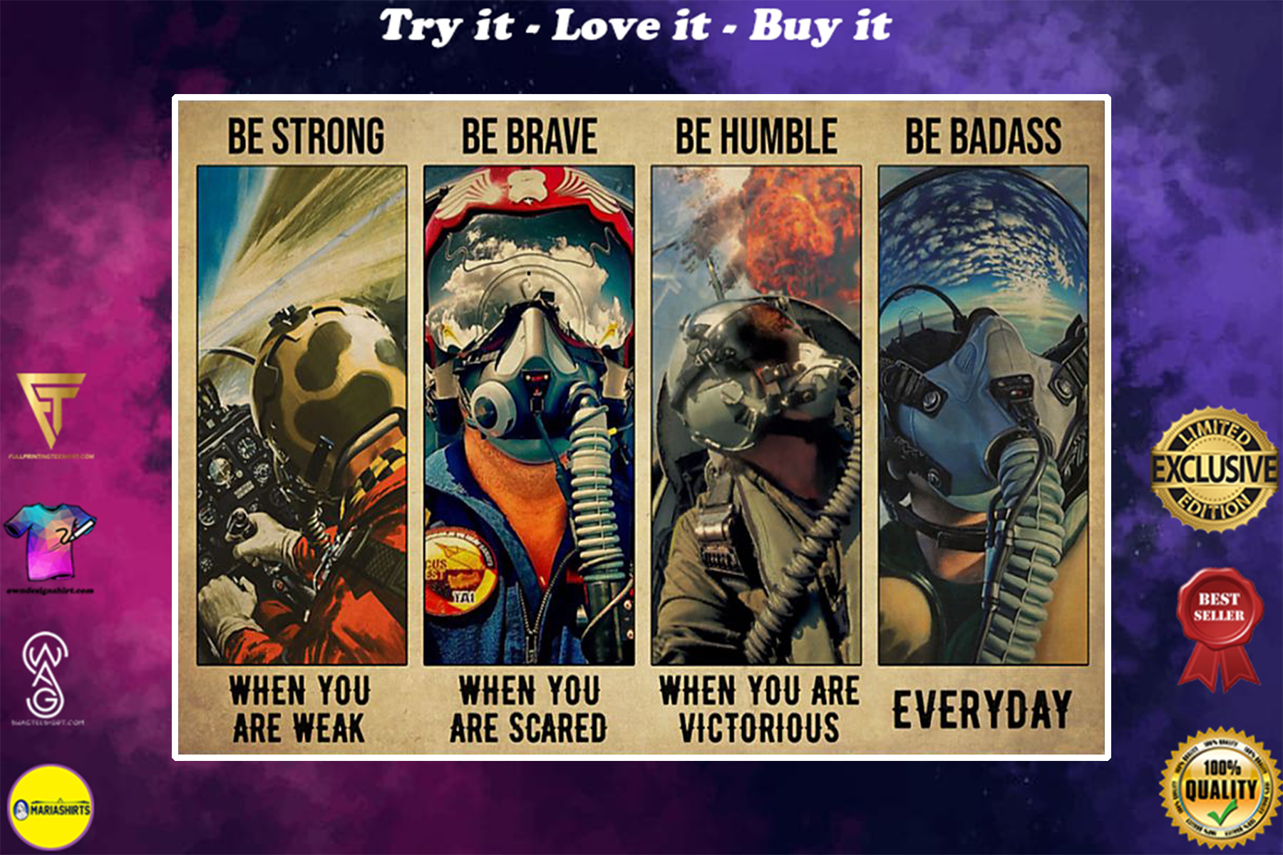 vintage fighter jet pilot be strong when you are weak be brave when you are scared poster