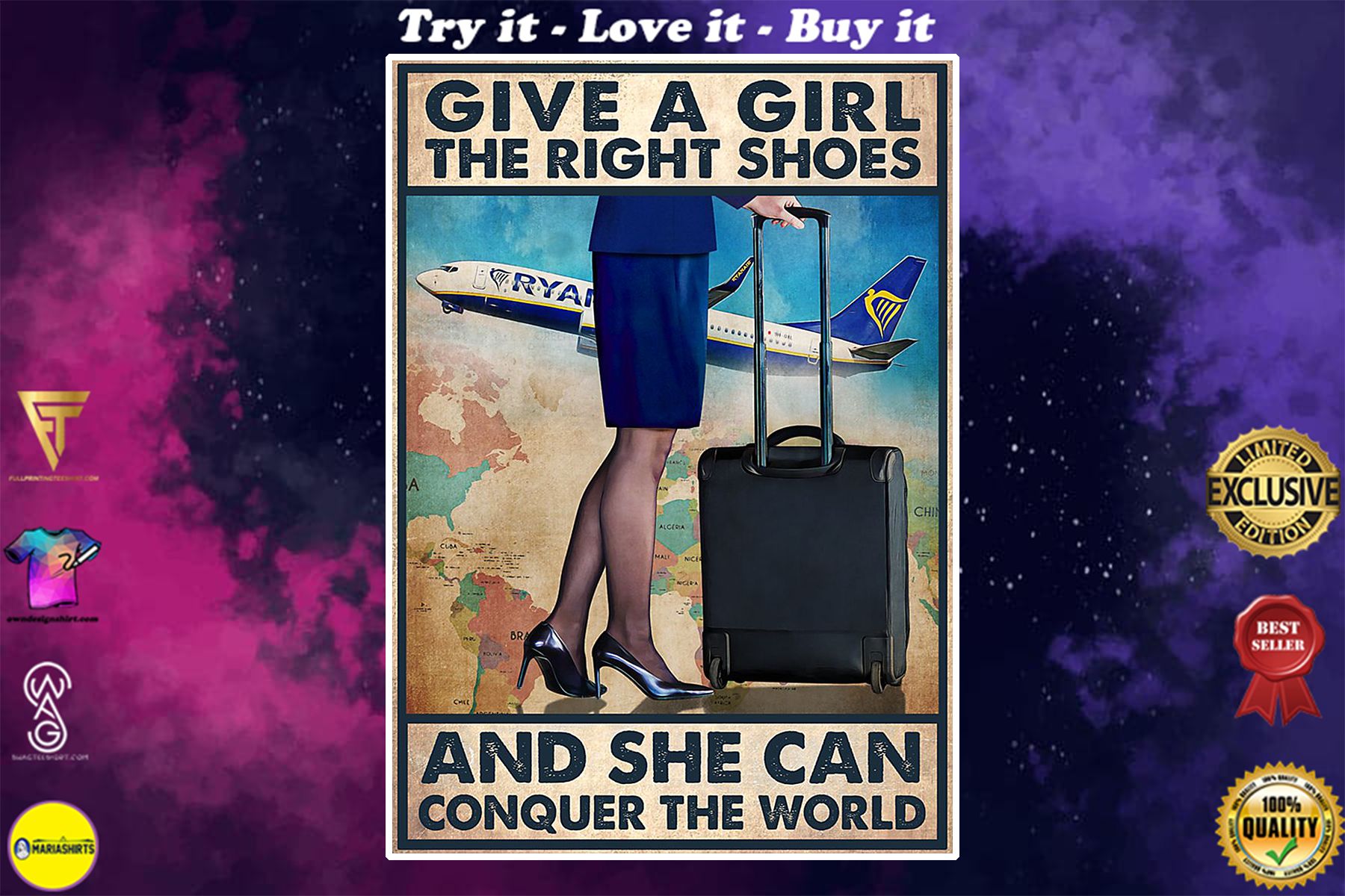 vintage flight attendant give a girl the right shoes and she can conquer the world poster