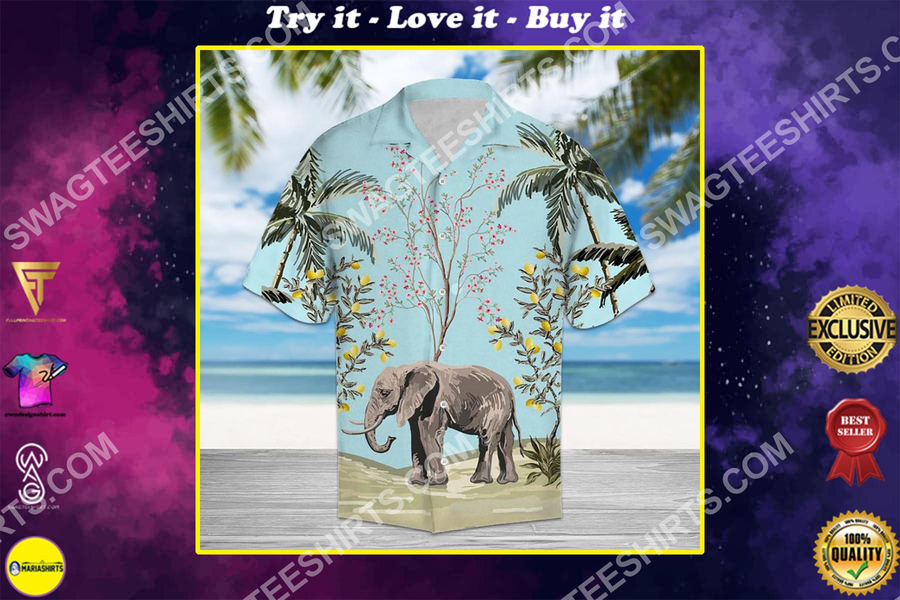 vintage floral elephant all over printed hawaiian shirt