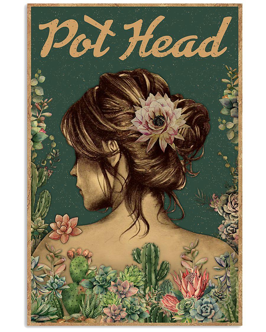 vintage floral girl pot head succulent poster 1