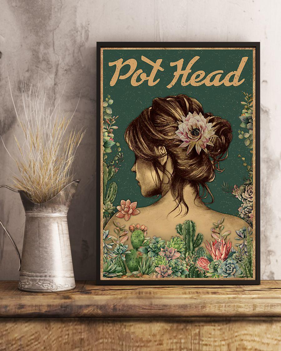 vintage floral girl pot head succulent poster 2