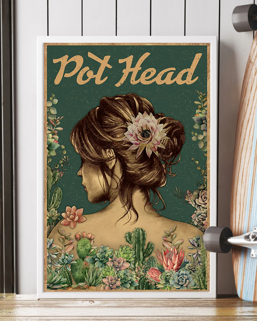 vintage floral girl pot head succulent poster 3