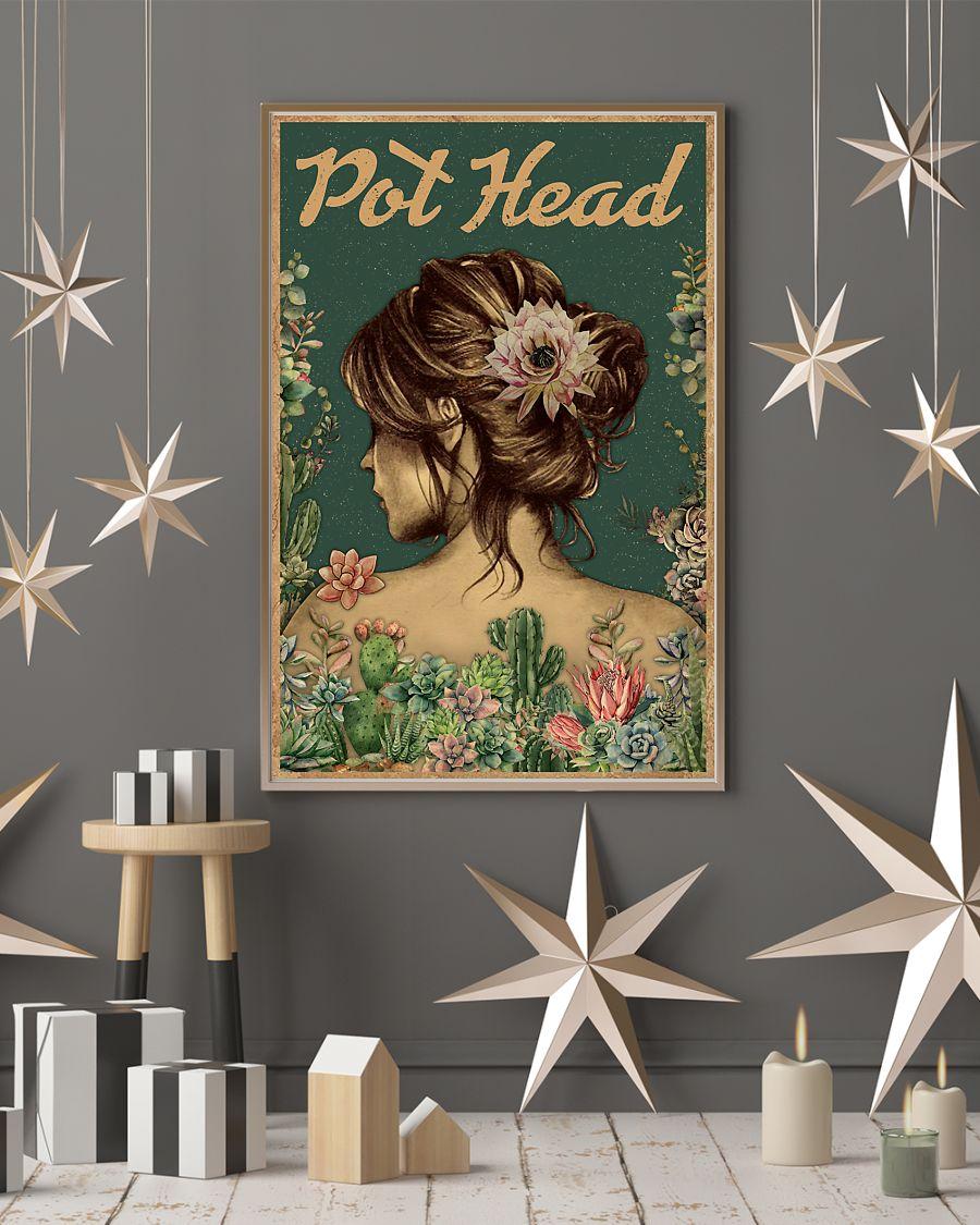 vintage floral girl pot head succulent poster 4
