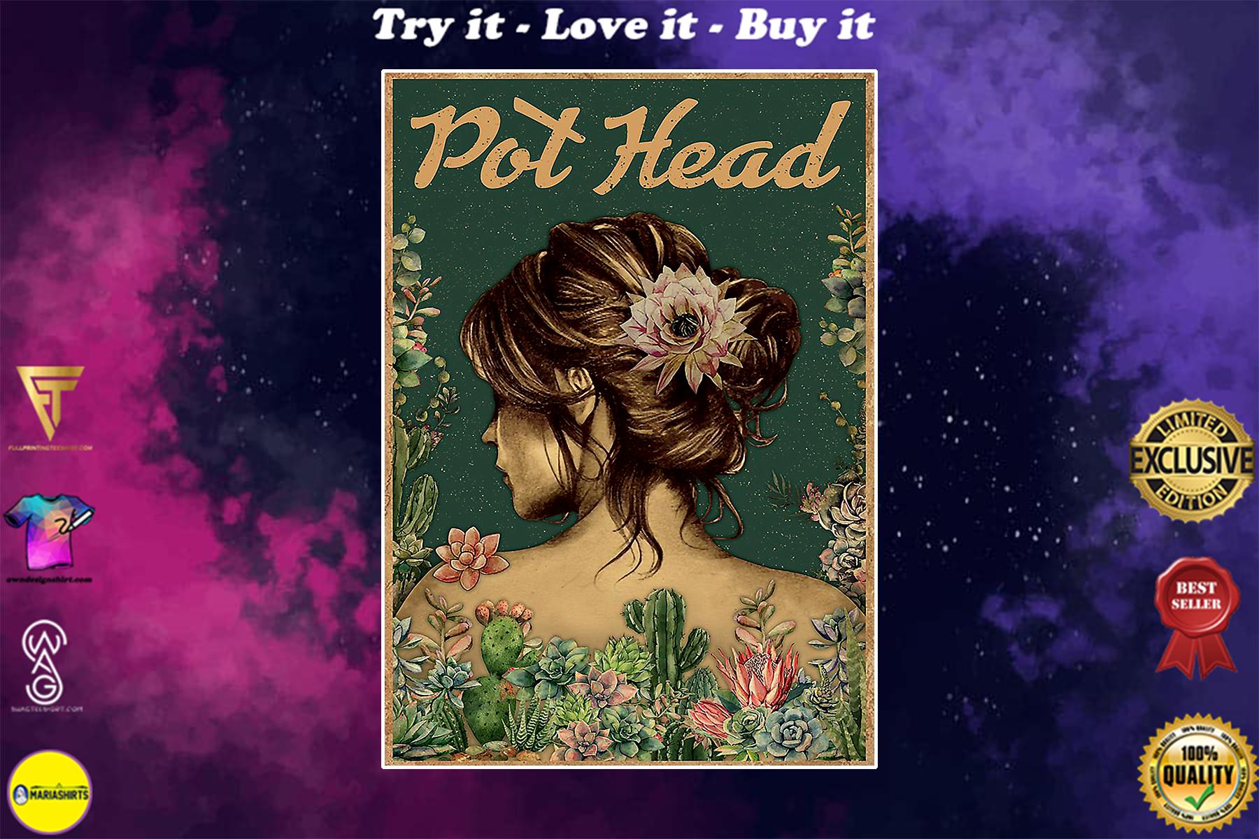 vintage floral girl pot head succulent poster