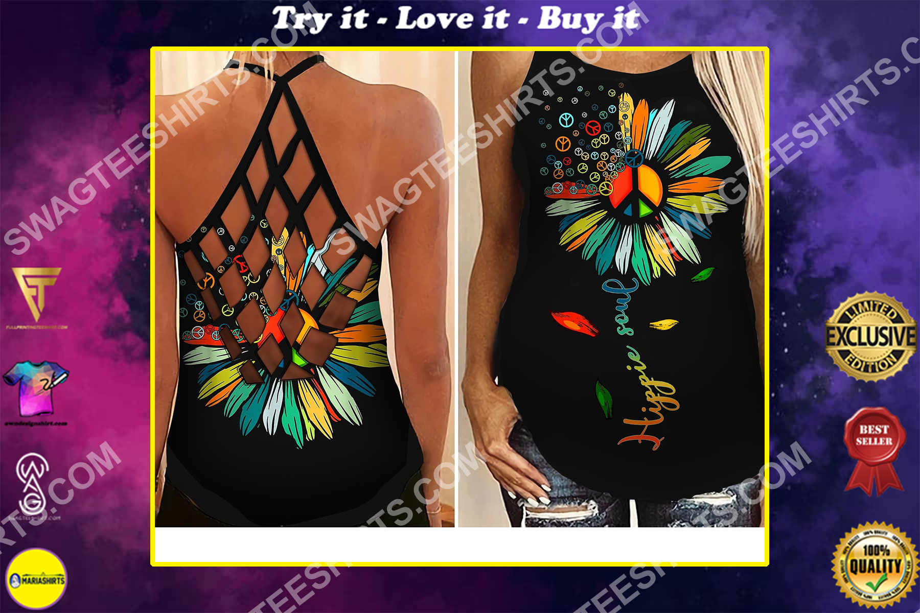 vintage flower hippie soul all over printed strappy back tank top