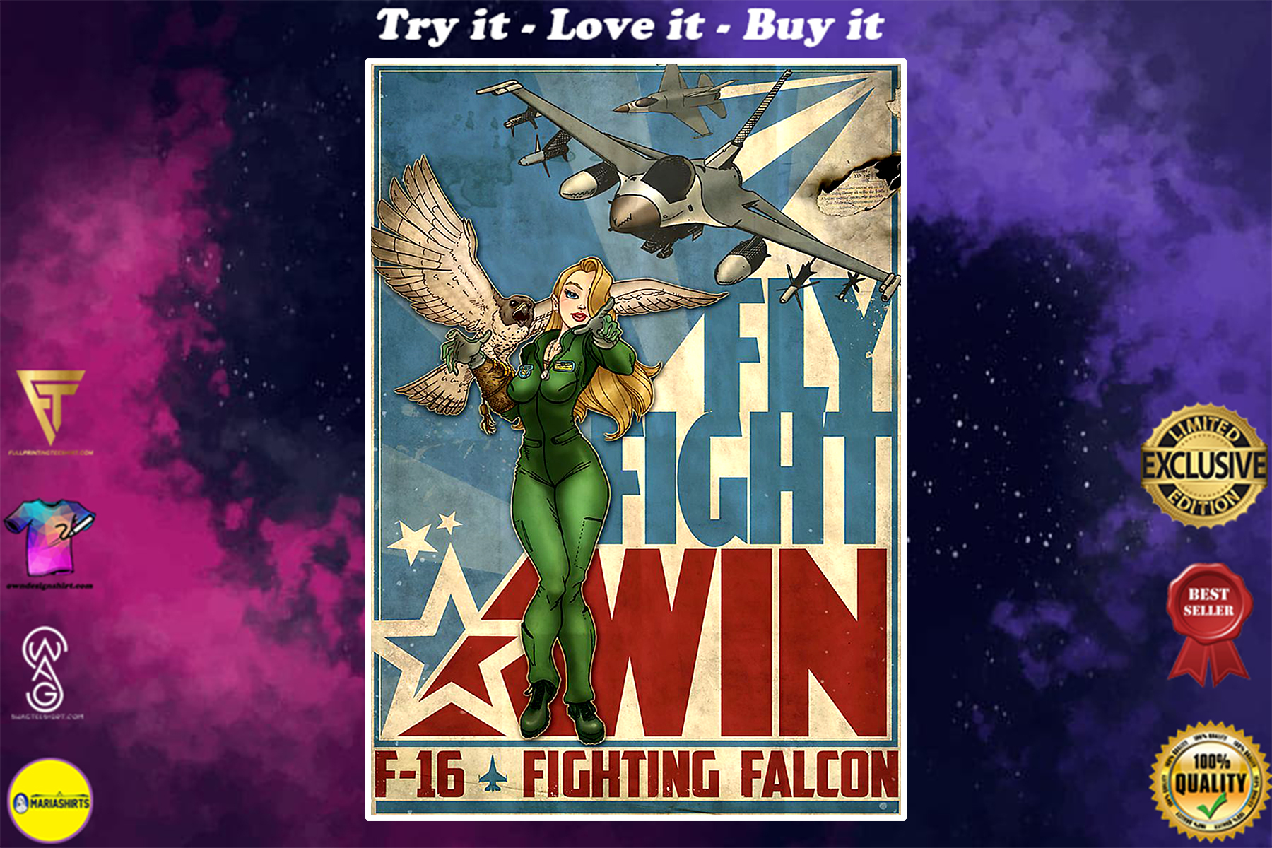 vintage fly fight win f-16 fighting falcon poster