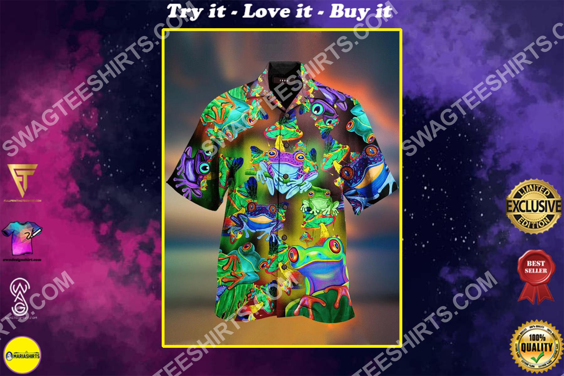 vintage frog colorful all over printed hawaiian shirt
