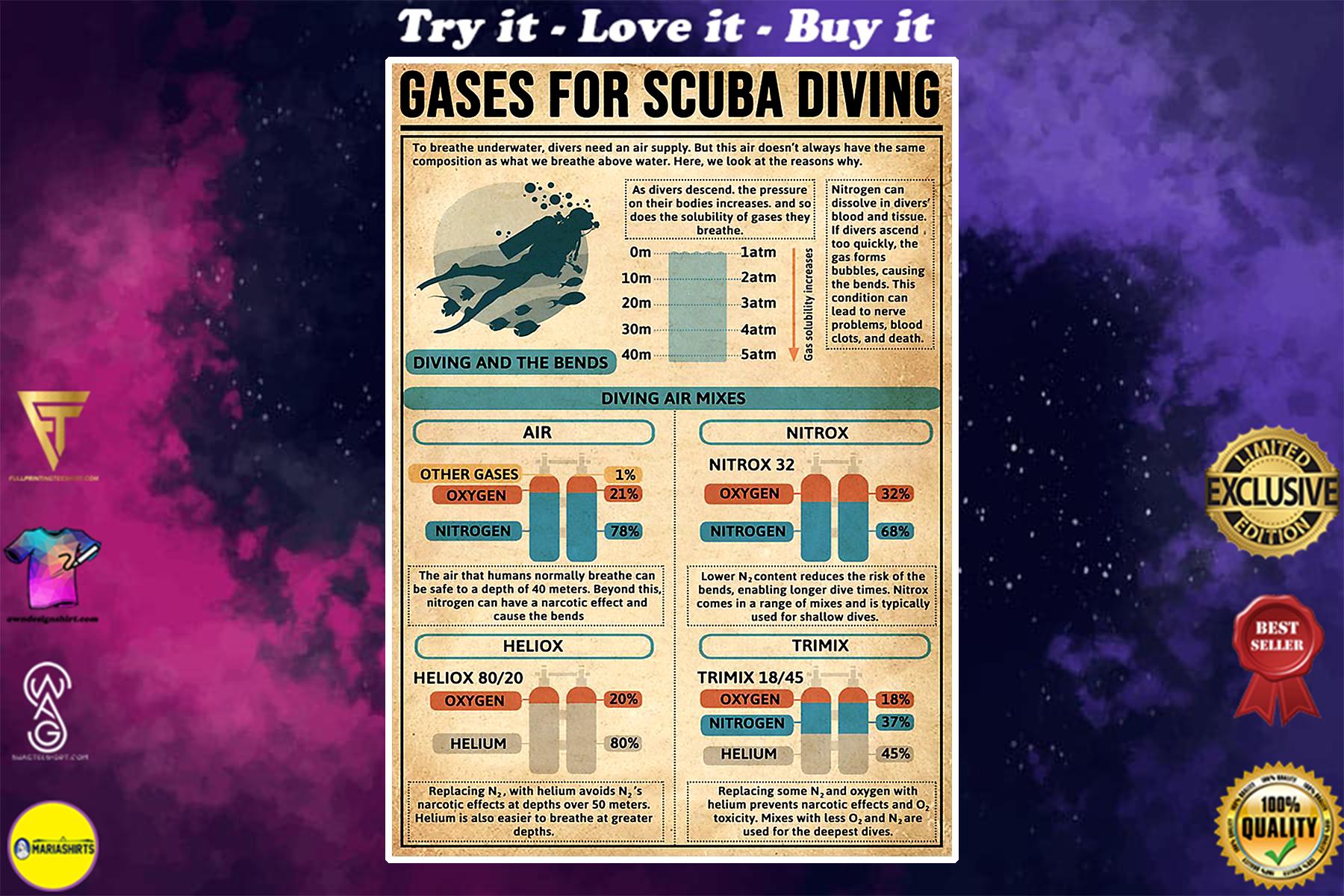 vintage gases for scuba diving poster
