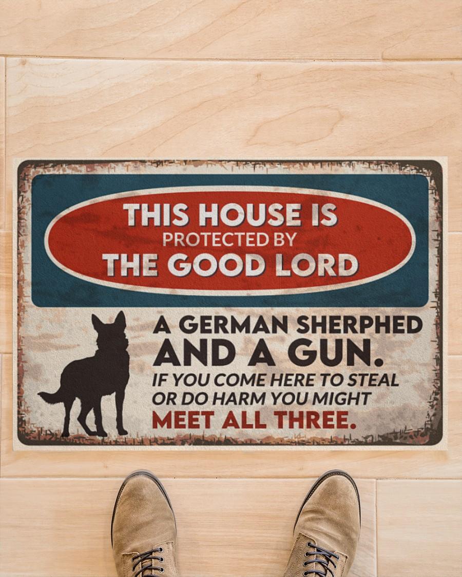 vintage german shepherd this house is protected by the good lord doormat 2
