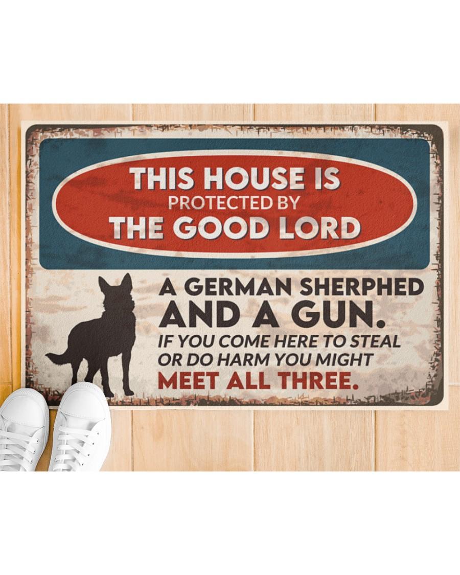 vintage german shepherd this house is protected by the good lord doormat 3