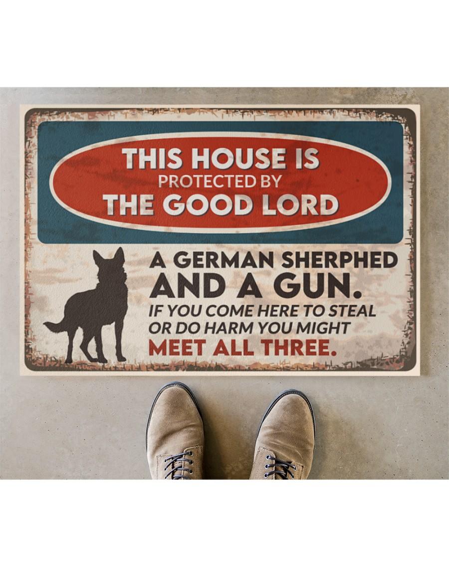 vintage german shepherd this house is protected by the good lord doormat 4
