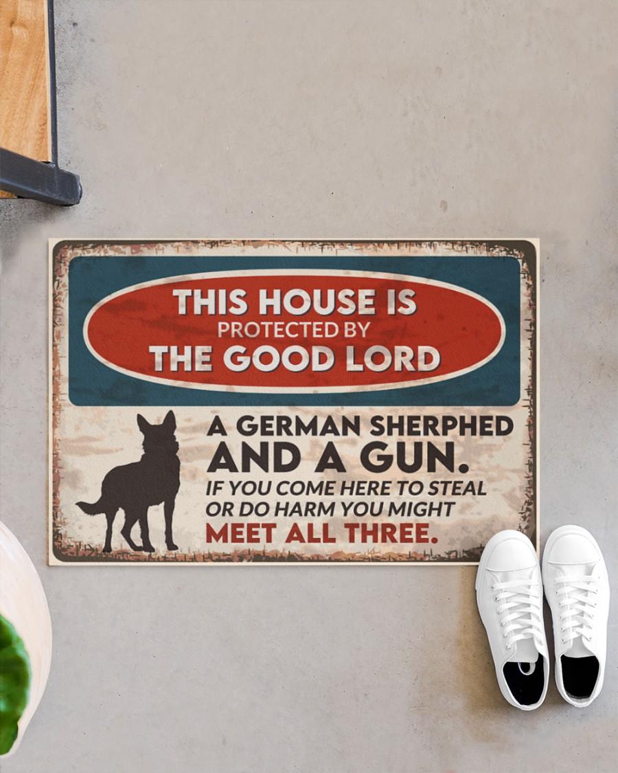 vintage german shepherd this house is protected by the good lord doormat 5