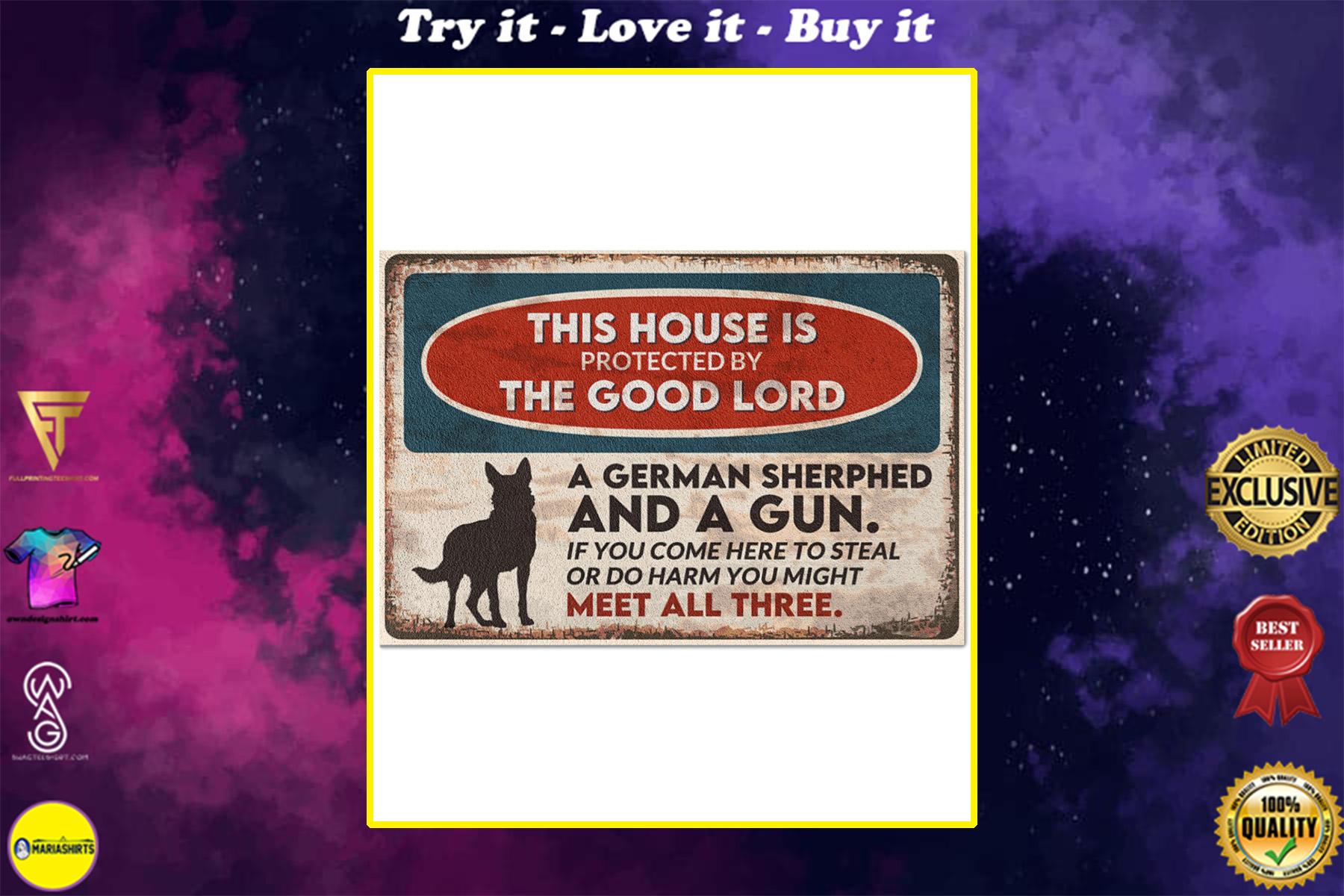 vintage german shepherd this house is protected by the good lord doormat