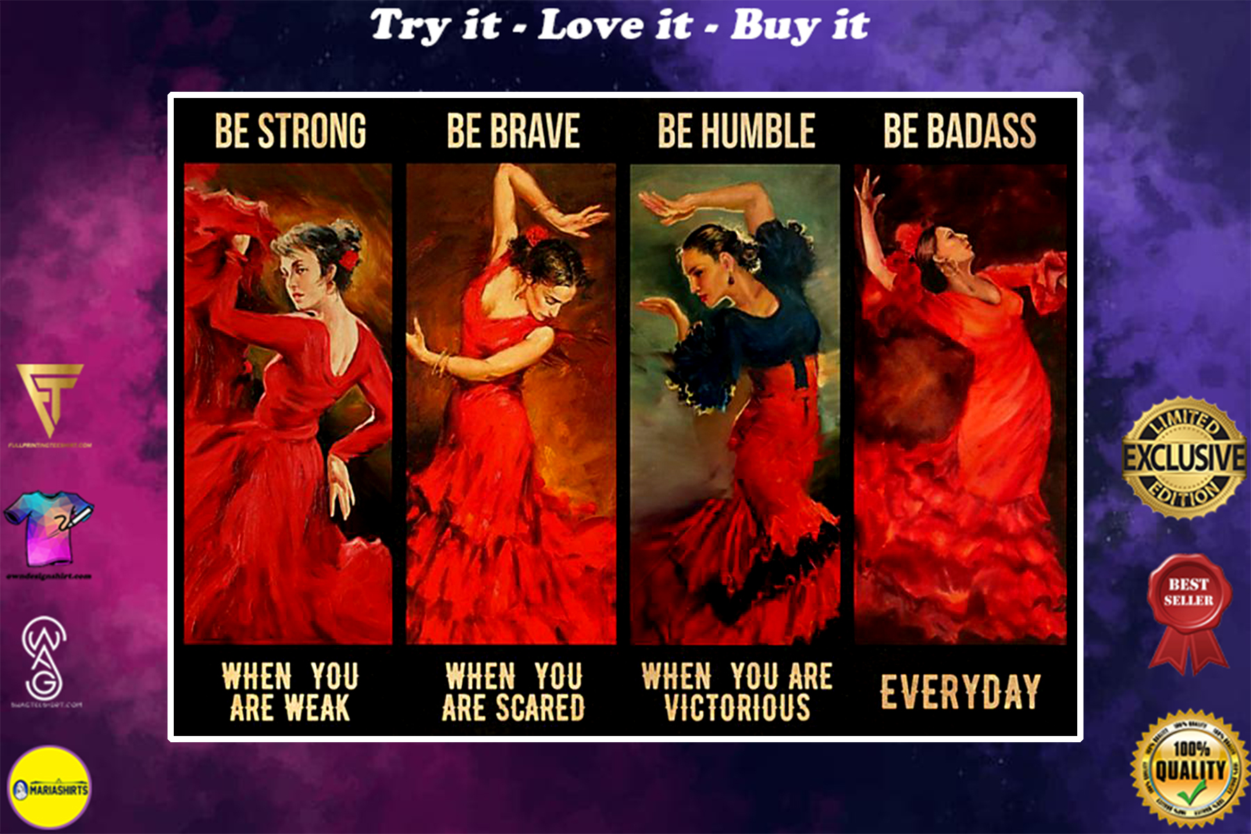 vintage girl latin dance be strong when you are weak be brave when you are scared poster