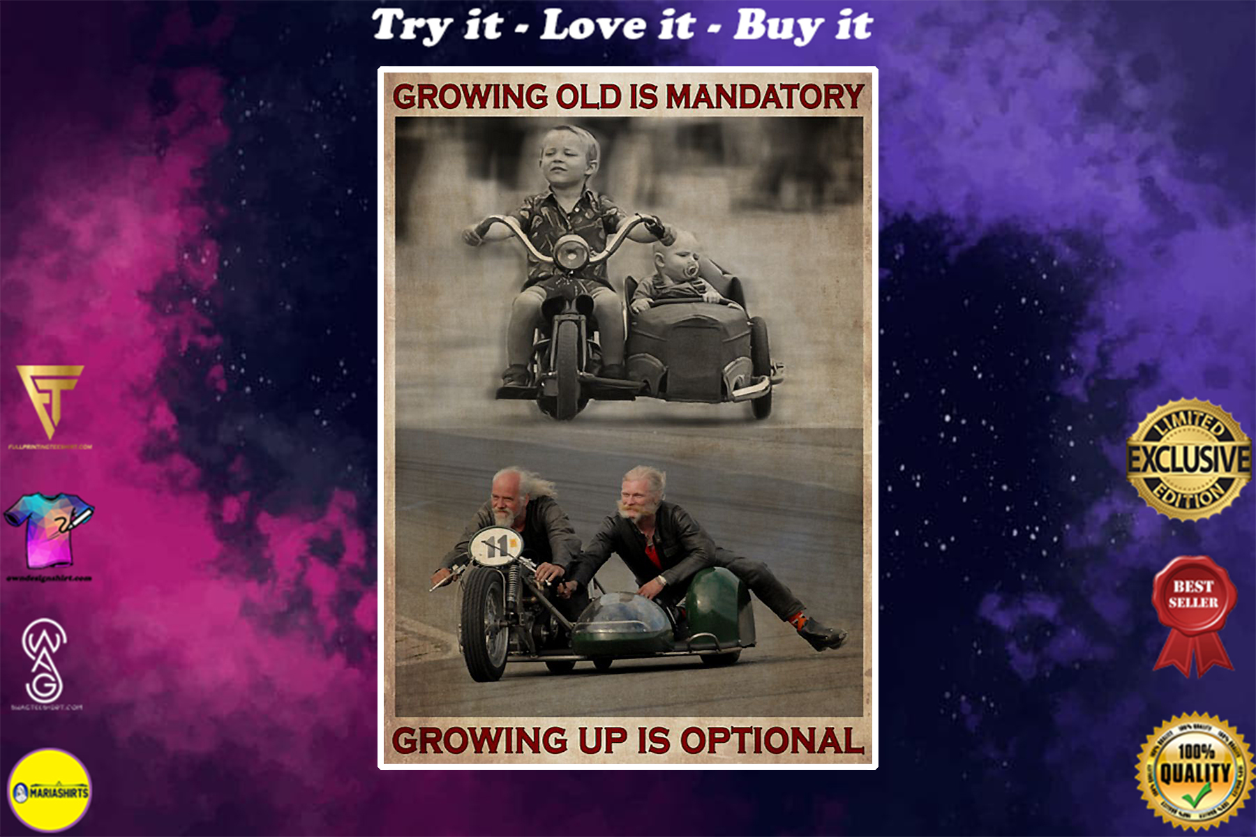 vintage growing old is mandatory but growing up is optional poster