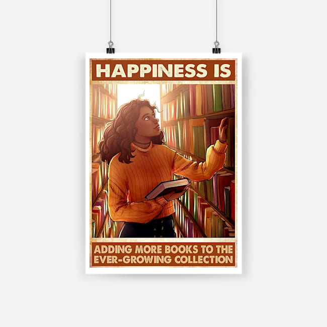 vintage happiness is adding more books to the ever-growing collection poster poster 1