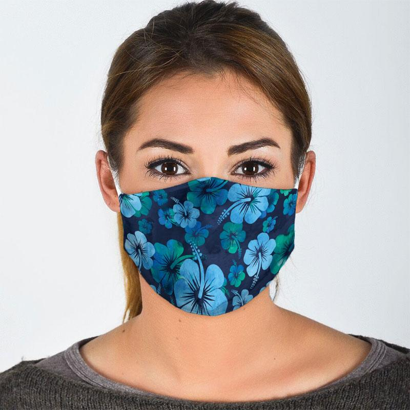 vintage hibiscus flowers all over print face mask 2
